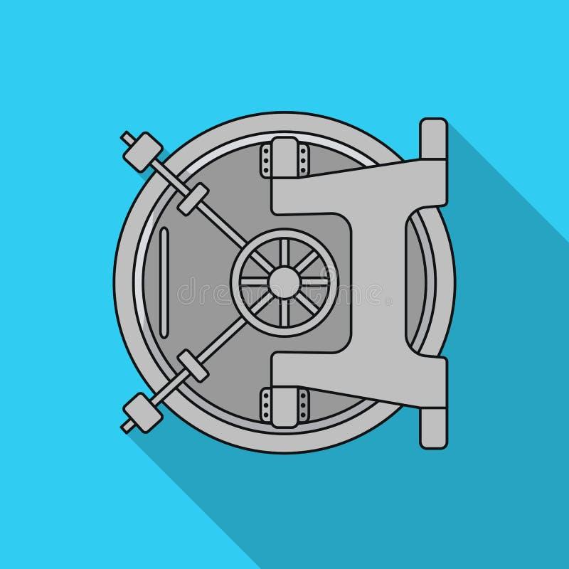 Icône de chambre forte de banque dans le style plat sur le fond blanc Argent et illustration de vecteur d'actions de symbole de f illustration stock