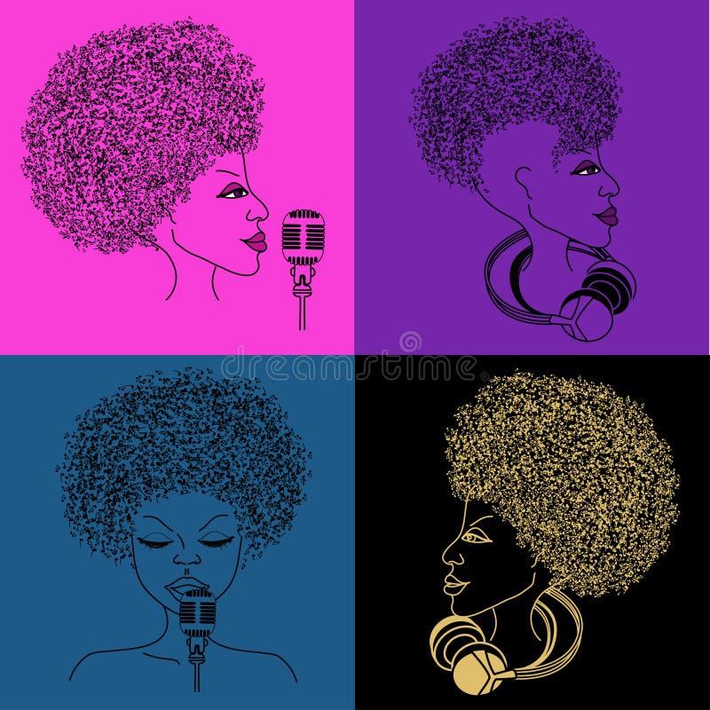 icône de chanteur avec des cheveux de notes musicales illustration libre de droits