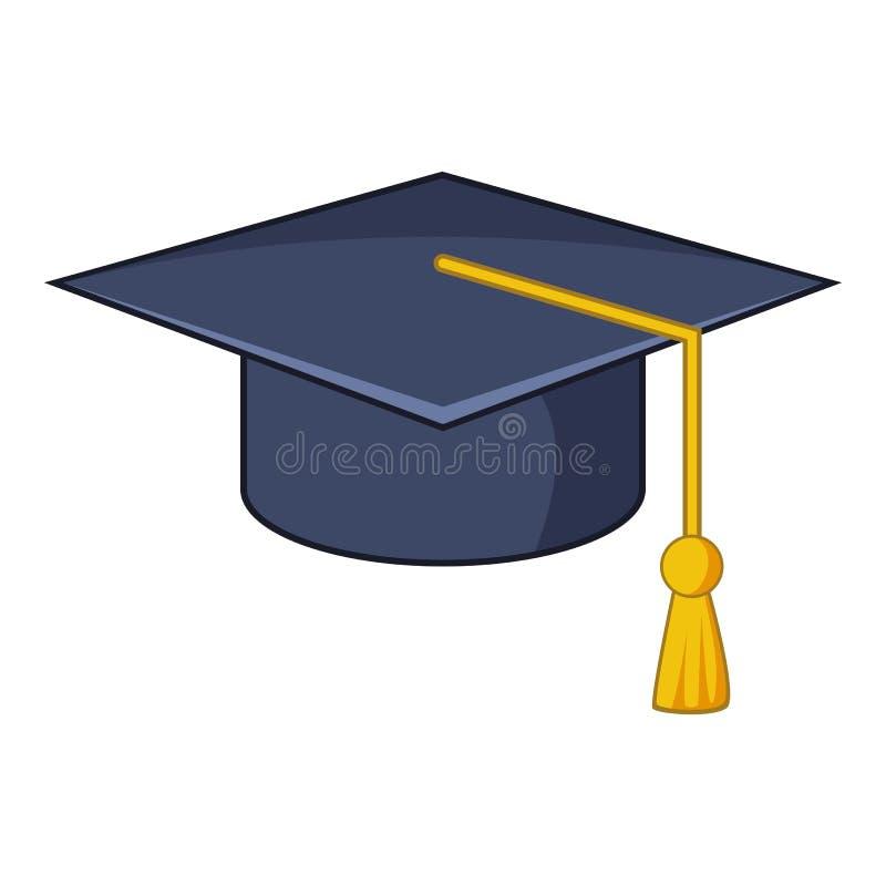 Icône de chapeau d'obtention du diplôme, style de bande dessinée illustration libre de droits