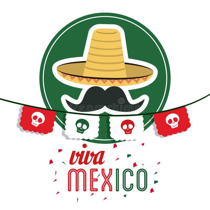 Ic ne de chapeau et de moustache culture du mexique dessin de vecteur image stock image 73556563 - Dessin du mexique ...