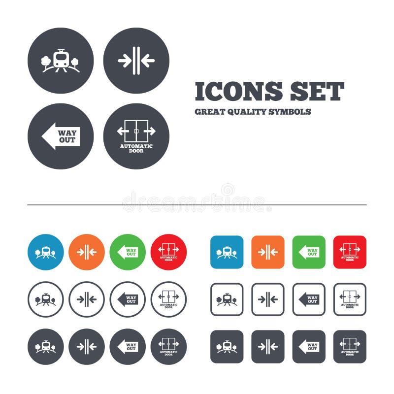 Icône de chemin de fer de train Symbole automatique de porte illustration stock