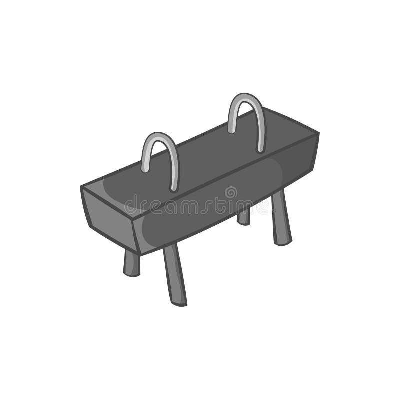 Icône de cheval de pommeau, style monochrome noir illustration de vecteur