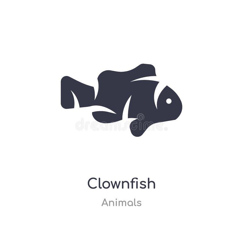 Ic?ne de Clownfish illustration d'isolement de vecteur d'icône de clownfish de collection d'animaux editable chantez le symbole p illustration stock