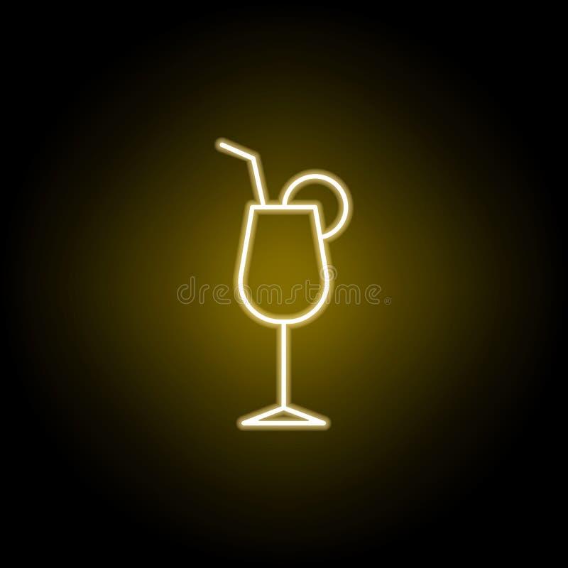 ic?ne de cocktail dans le style au n?on Des signes et les symboles peuvent ?tre employ?s pour le Web, logo, l'appli mobile, UI, U illustration stock