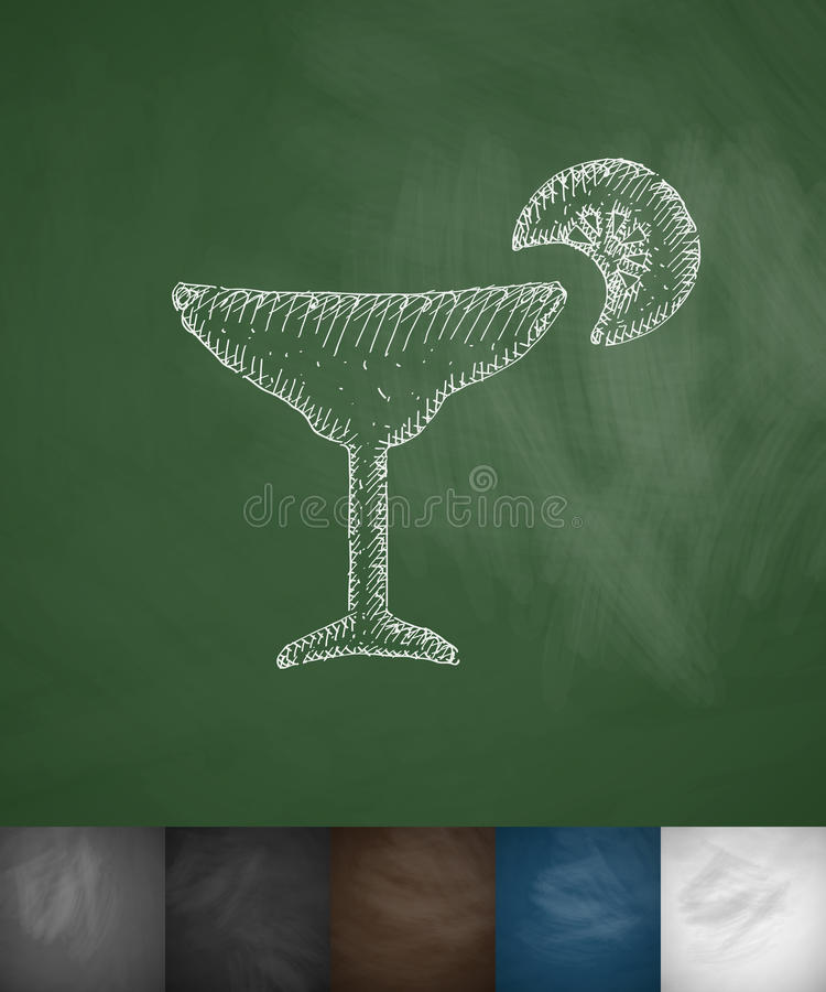 Icône de cocktail Illustration tirée par la main de vecteur illustration stock