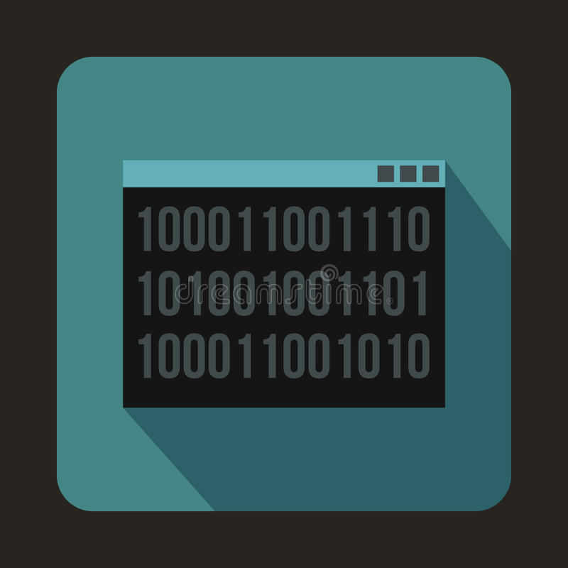 Icône de code binaire dans le style plat illustration stock