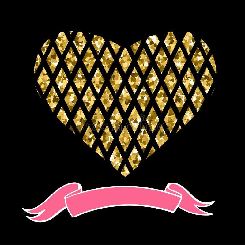 Icône de coeur avec des étincelles d'or et de scintillement, confettis légers de lueur, paillettes lumineuses, signe d'isolement  illustration libre de droits