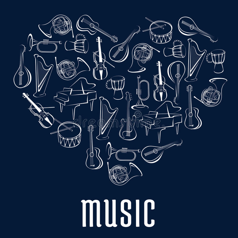 Icône de coeur avec des instruments de musique illustration de vecteur