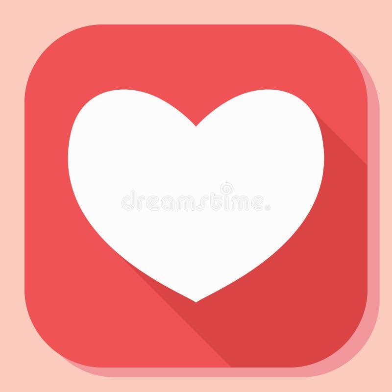 Icône de coeur avec la longue ombre Signe plat simple moderne de forme de sentiments Internet bleu de concept de couleur de fond  illustration stock