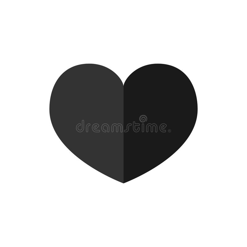 Icône de coeur dans le style plat à la mode d'isolement sur le fond blanc Symbole d'amour pour votre conception de site Web, logo illustration libre de droits