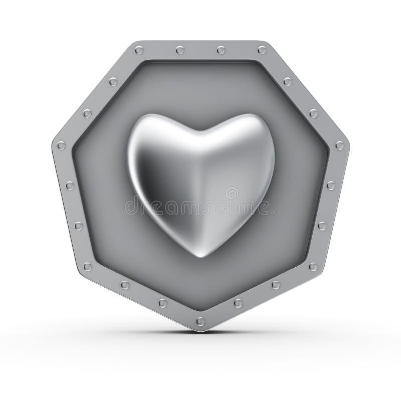 Icône de coeur en métal illustration de vecteur