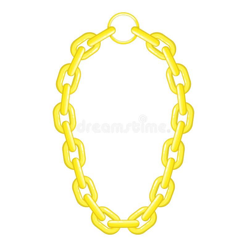 Icône de collier de chaîne d'or, style de bande dessinée illustration de vecteur