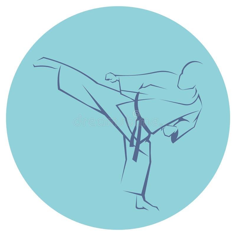Icône de combattant de karaté illustration de vecteur