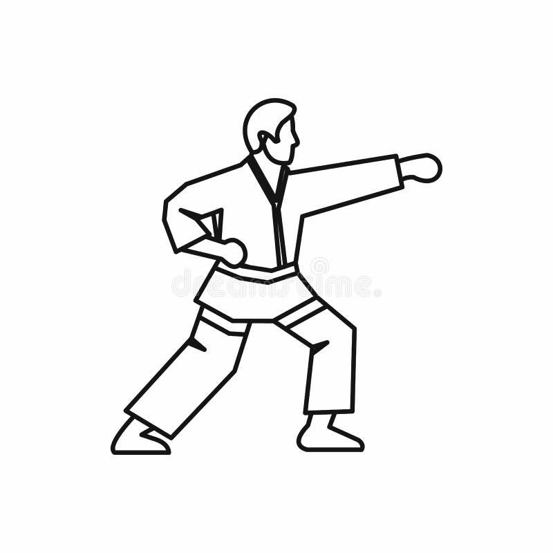 Icône de combattant de karaté, style d'ensemble illustration stock
