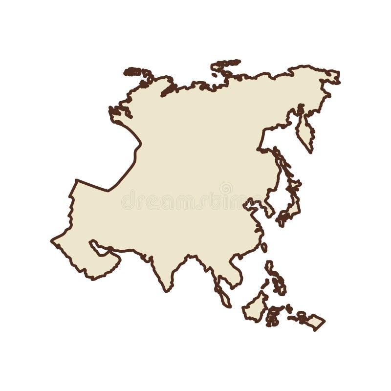 Icône de continent de l'Asie illustration de vecteur