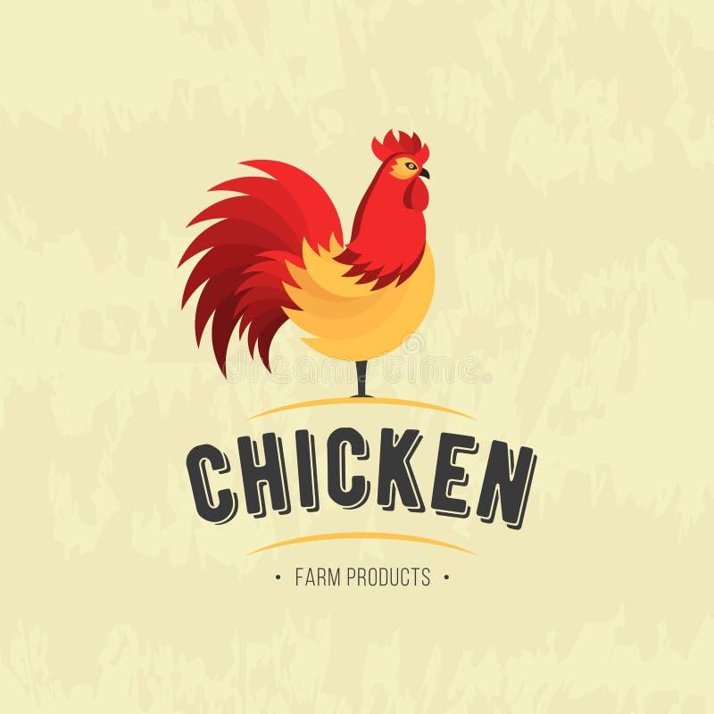 Icône de coq Coq volaille Signe frais de ferme Logo de viande de ferme de poulet, insignes, bannières, emblème et éléments de con illustration de vecteur