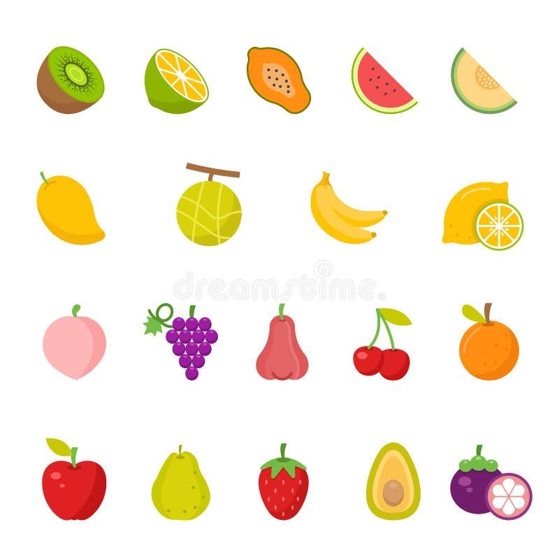 Icône de couleur réglée - fruit illustration de vecteur