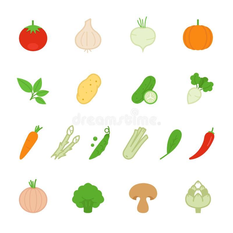 Icône de couleur réglée - légume illustration stock