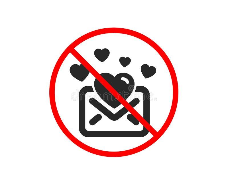 Ic?ne de courrier d'amour Signe de correspondance de message de valentines Vecteur illustration libre de droits