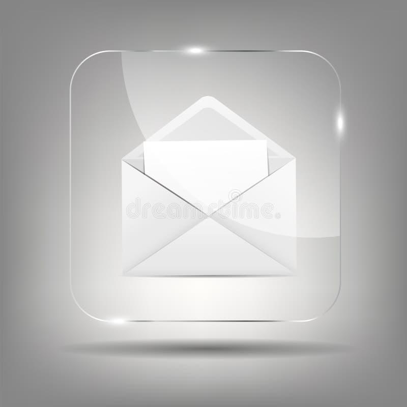 Icône de courrier dans l'illustration en verre de vecteur de bouton illustration stock