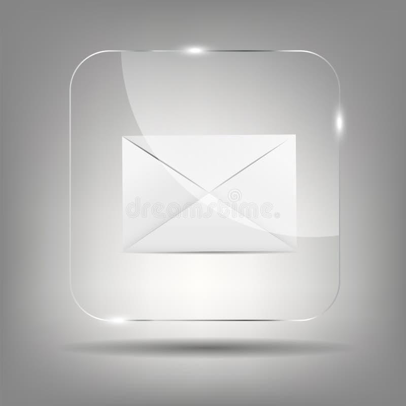 Icône de courrier dans l'illustration en verre de vecteur de bouton illustration libre de droits
