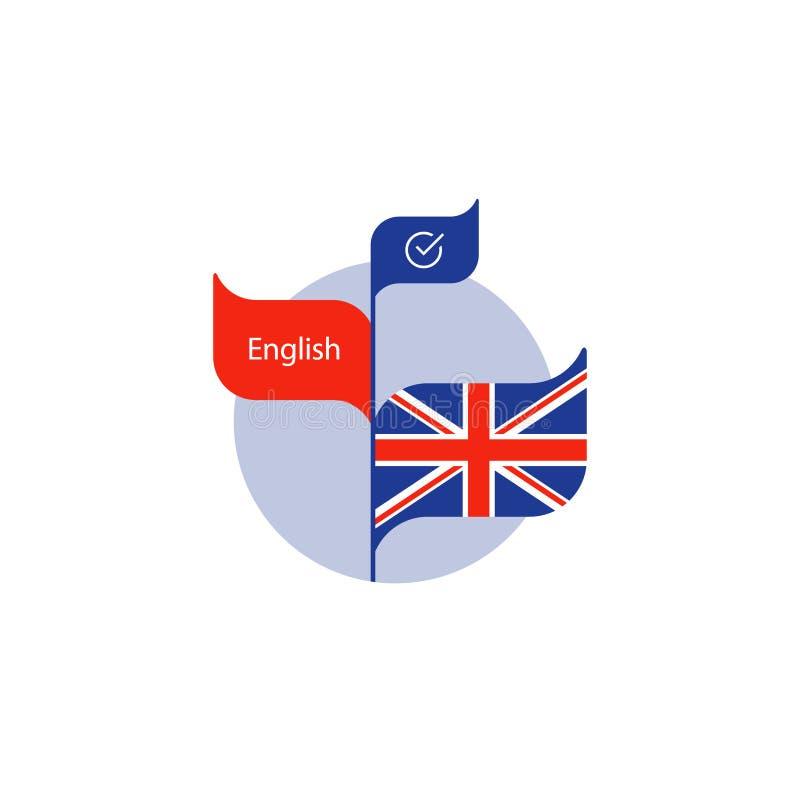 Icône de cours d'anglais, apprenant le concept, logo d'école de langues illustration stock