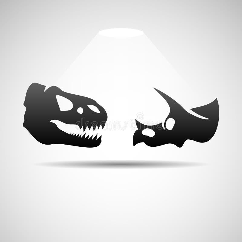 Icône de crânes de dinosaures illustration stock