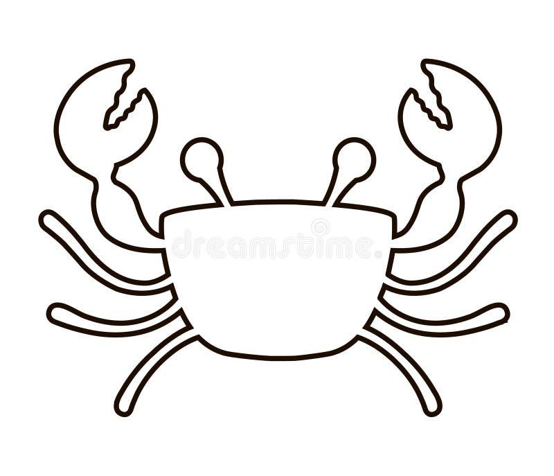 Ic?ne de crabe sur un fond blanc Ligne noire illustration stock