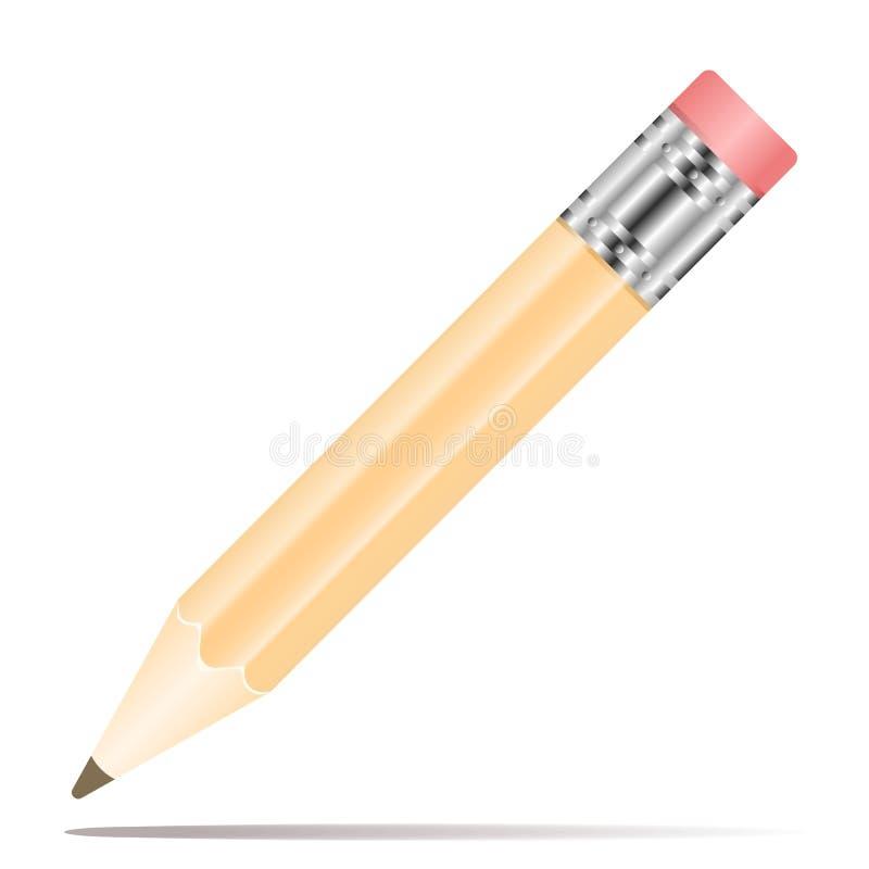Ic?ne de crayon dans la conception plate Illustration de vecteur Crayon sur le fond blanc avec l'ombre illustration stock