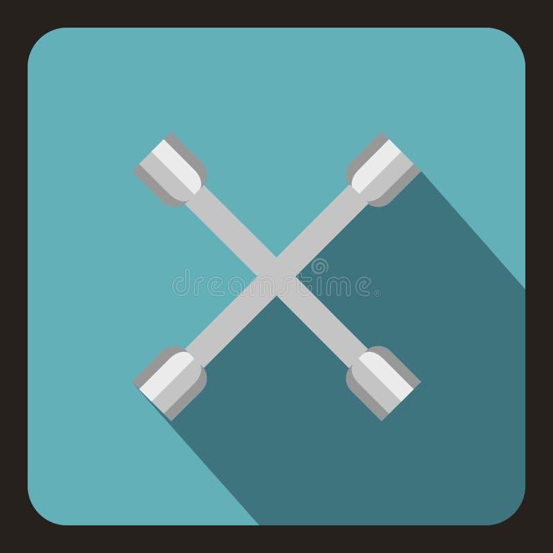 Icône de croix de clé de roue, style plat illustration stock
