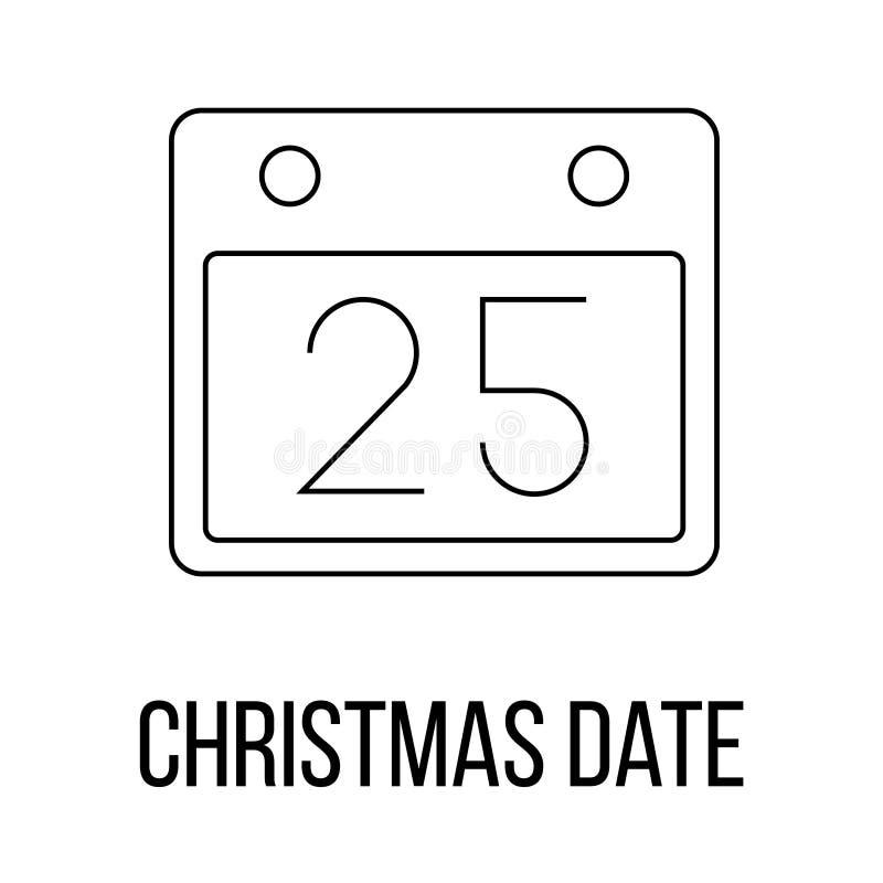Icône de date de Noël ou style de logo de schéma illustration libre de droits