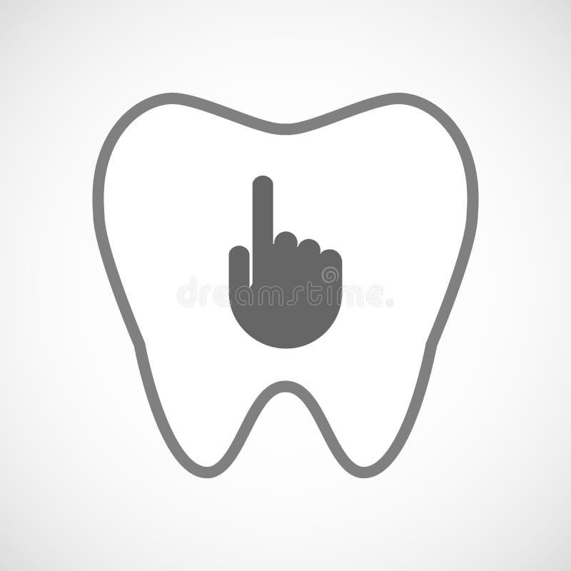 Icône de dent de schéma avec une main de pointage illustration libre de droits