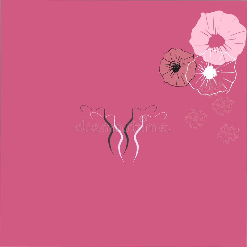 Icône de dessin d'art de l'utérus sur le fond de couleur illustration libre de droits