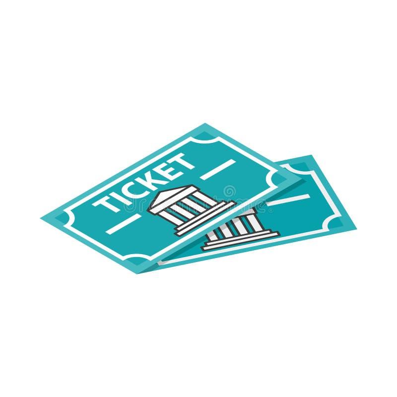 Icône de deux billets de musée, style 3d isométrique illustration de vecteur