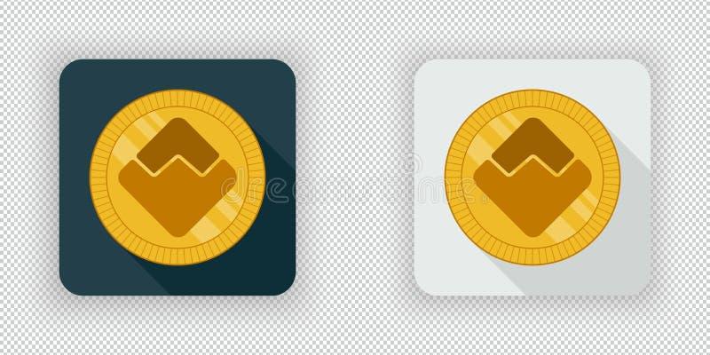 Icône de devise de vagues de lumière et d'obscurité crypto illustration libre de droits