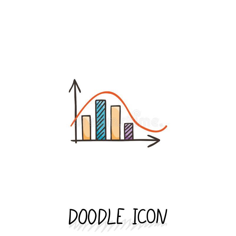 Icône de diagramme de griffonnage de vecteur Diagramme avec des colonnes illustration libre de droits