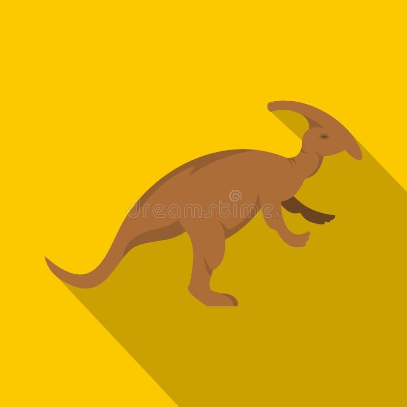 Icône de dinosaure de parazavrolofus de Brown, style plat illustration libre de droits