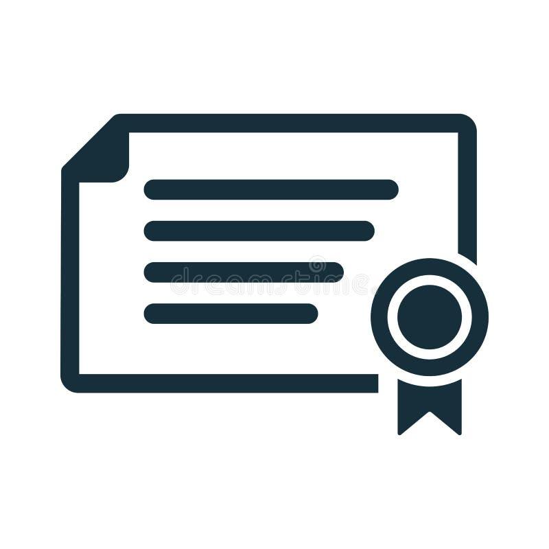 Icône de diplôme de certificat sur le fond blanc illustration de vecteur
