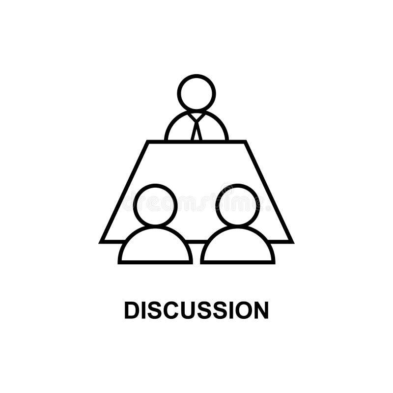 Ic?ne de discussion d'affaires Élément de conférence avec l'icône de description pour des applis mobiles de concept et de Web Dis illustration libre de droits