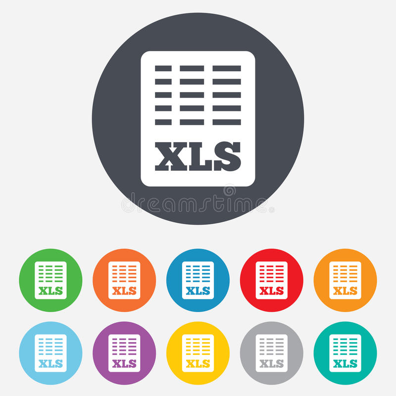 Icône de document de dossier d'Excel. Bouton de xls de téléchargement. illustration libre de droits