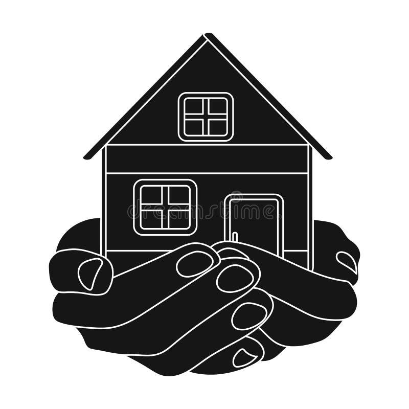 Icône de donation de propriété dans le style noir d'isolement sur le fond blanc Vecteur d'actions de symbole de charité et de don illustration de vecteur
