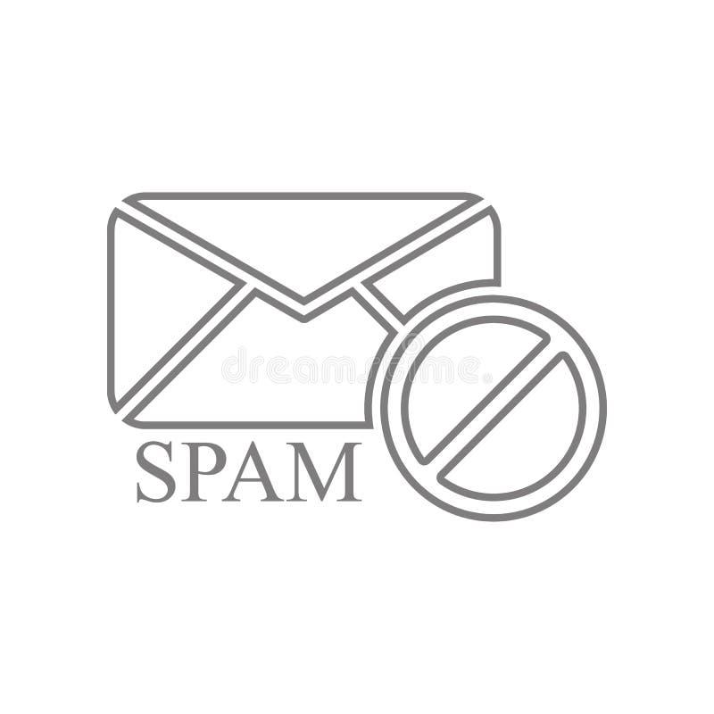 ic?ne de dresseur de courrier de Spam ?l?ment de Web pour le concept et l'ic?ne mobiles d'applis de Web Contour, ligne mince ic?n illustration stock