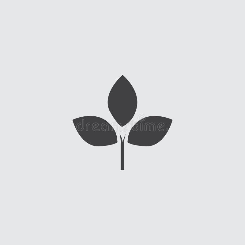 Icône de feuille dans une conception plate dans la couleur noire Illustration EPS10 de vecteur illustration de vecteur