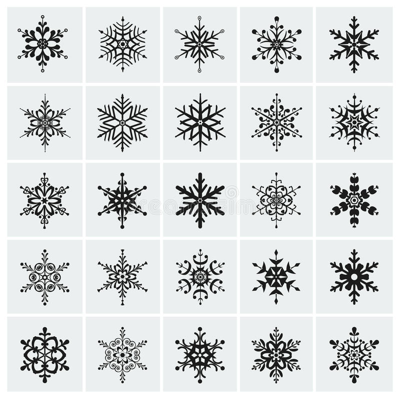 Icône de flocons de neige. Ensemble de vecteur. illustration stock