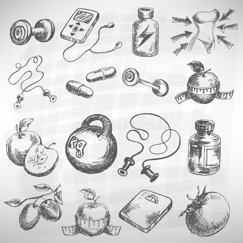 Icône de forme physique et de santé illustration stock