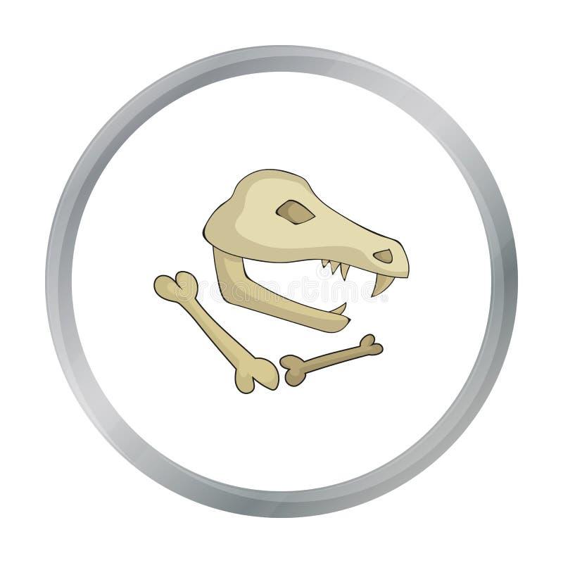 Icône de fossiles de dinosaure dans le style de bande dessinée d'isolement sur le fond blanc Illustration de vecteur d'actions de illustration stock