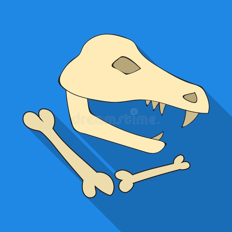 Icône de fossiles de dinosaure dans le style plat d'isolement sur le fond blanc Illustration de vecteur d'actions de symbole d'âg illustration stock