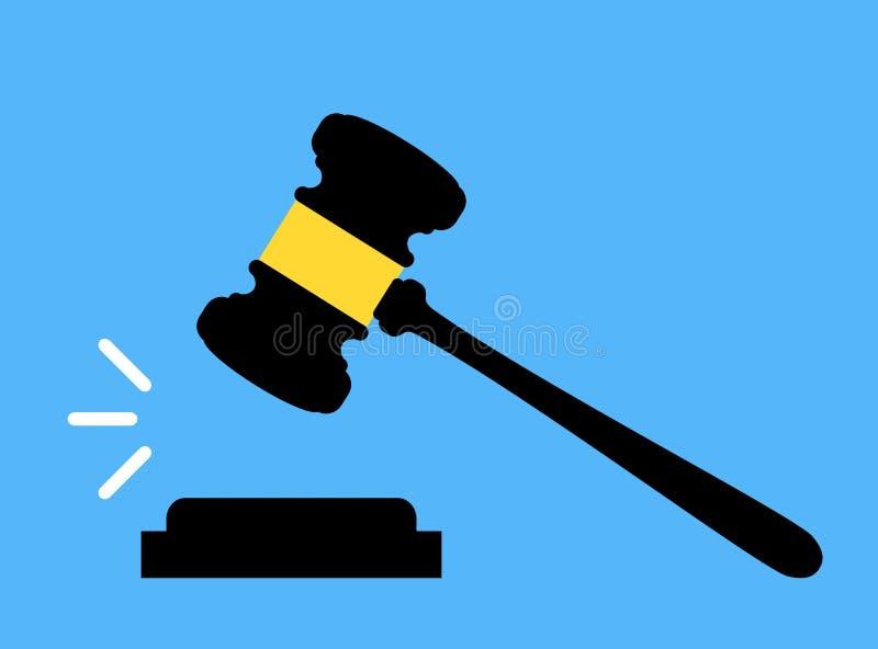 Icône de Gavel Cour, offre, jugement, et concepts de vente aux enchères Jugez le marteau Marteau de vente aux enchères illustration stock