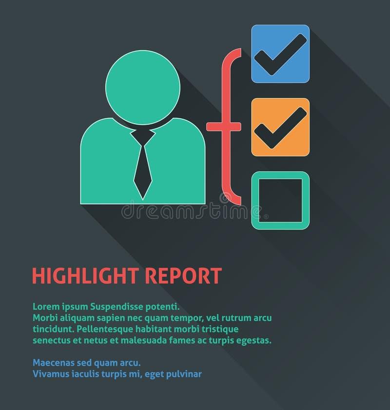 Icône de gestion des projets, icône de rapport de point culminant illustration libre de droits