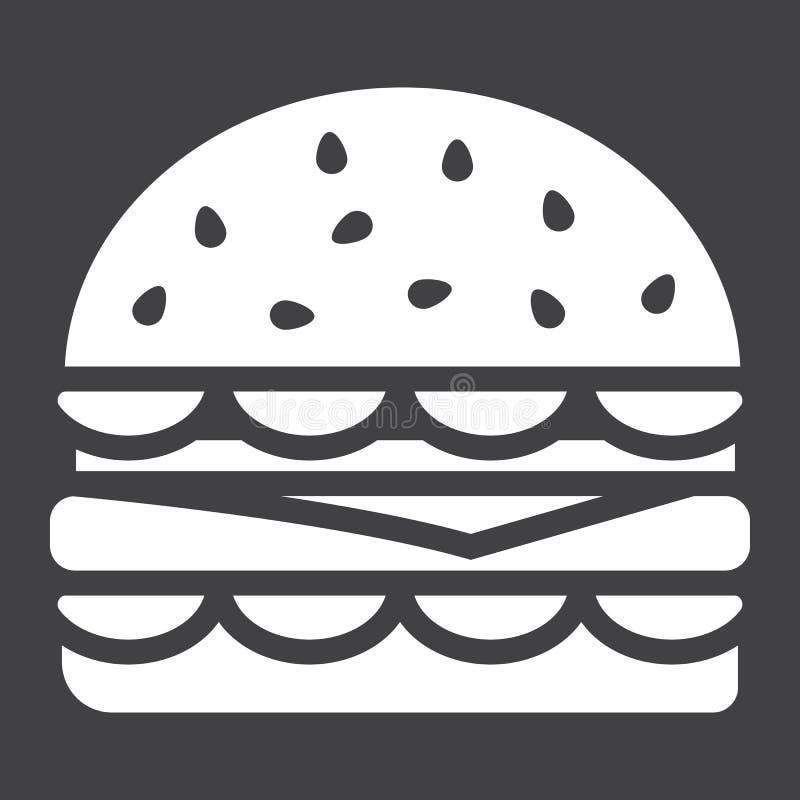 Icône de glyph d'hamburger, nourriture et boisson, aliments de préparation rapide illustration stock